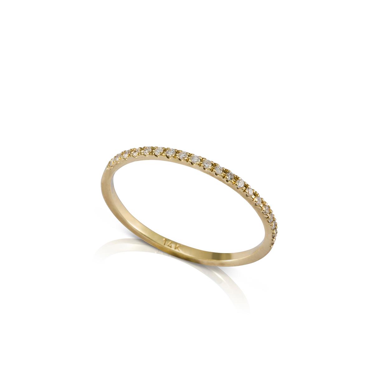 טבעת שורת יהלומים דקה