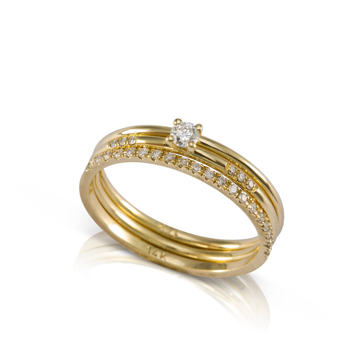סט 3 טבעות זהב דקות בשילוב יהלומים לבנים