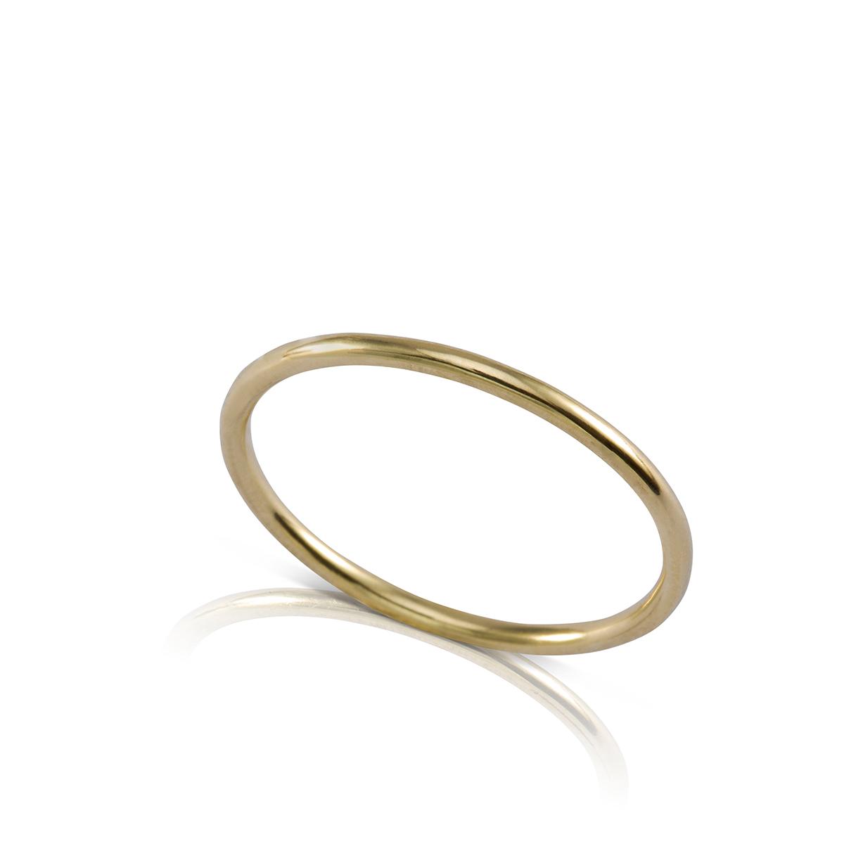 טבעת זהב דקה מעוגלת