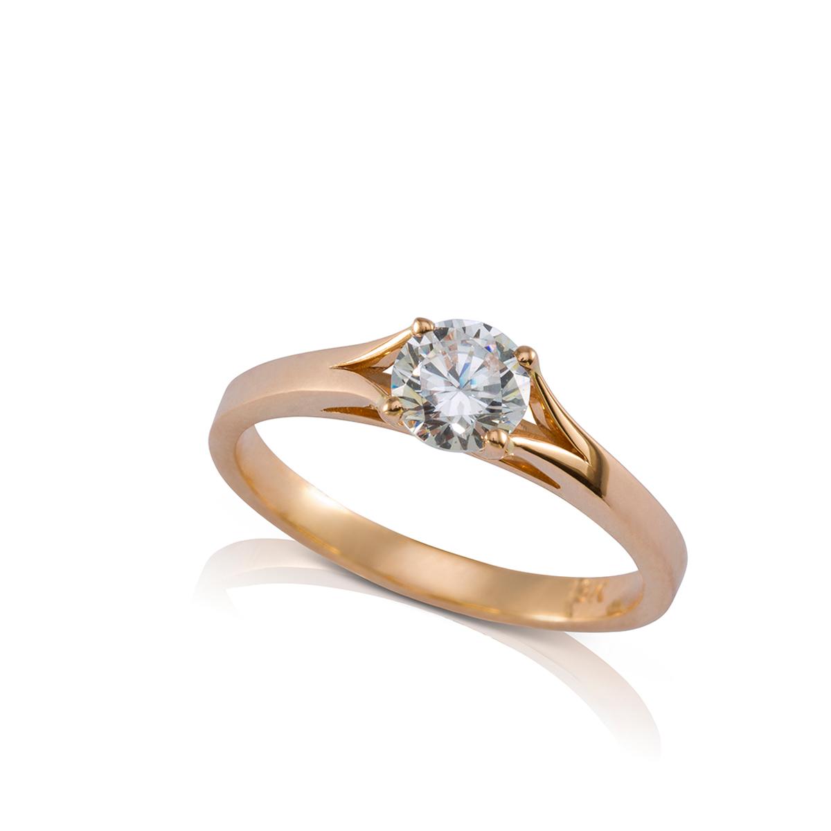 טבעת אירוסין, טבעת סוליטר משובצת יהלום מרכזי