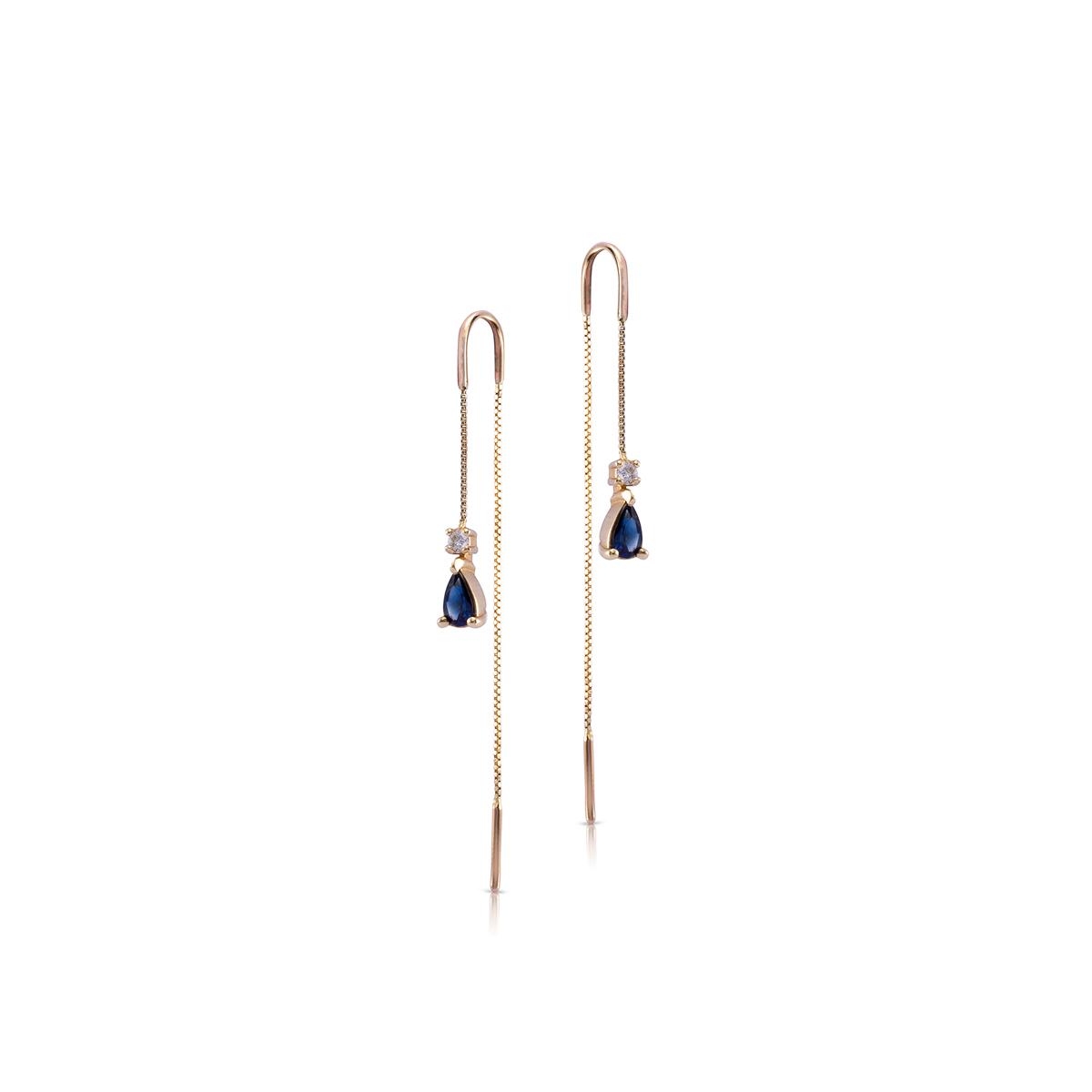 עגילי זהב מתנדנדים עם ספירים ויהלומים