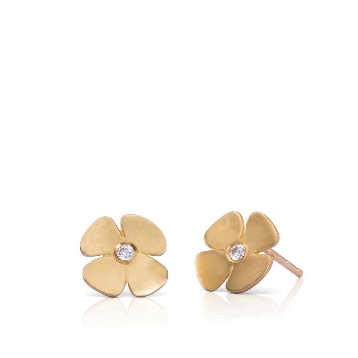 עגילי פרחים צמודים מזהב