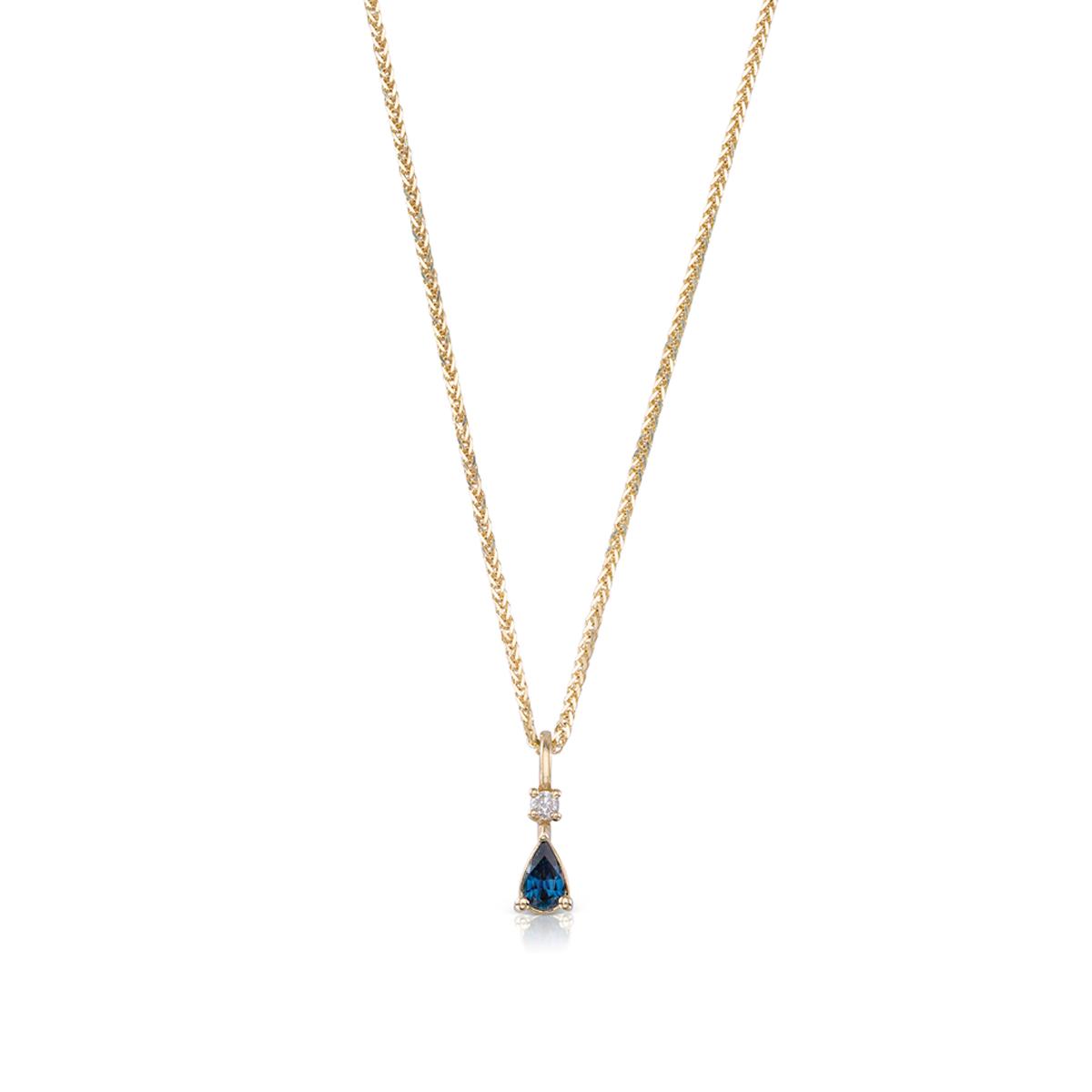 שרשרת זהב עם תליון משובץ ספיר טיפה ויהלום
