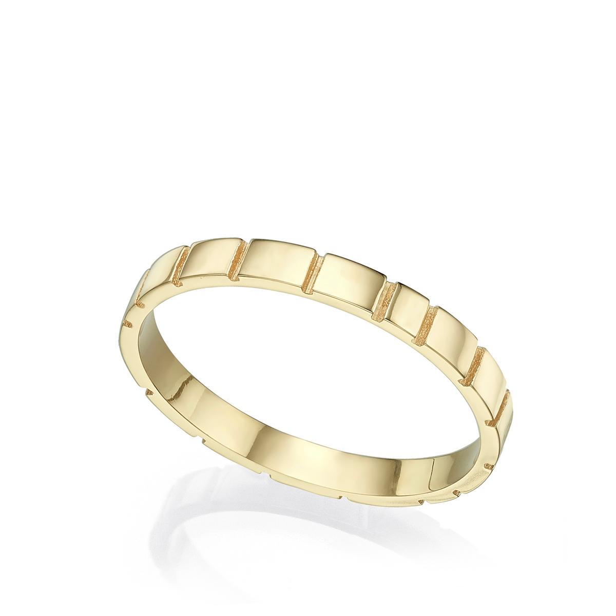 טבעת נישואין צרה עם חריצים
