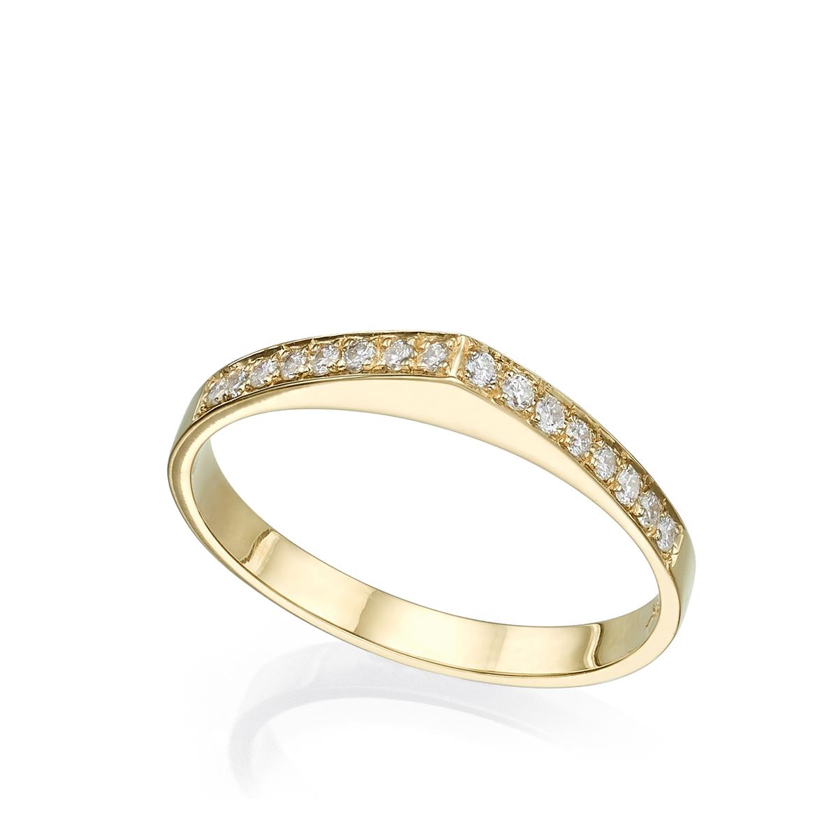 טבעת זהב טיפה משובצת שורת יהלומים