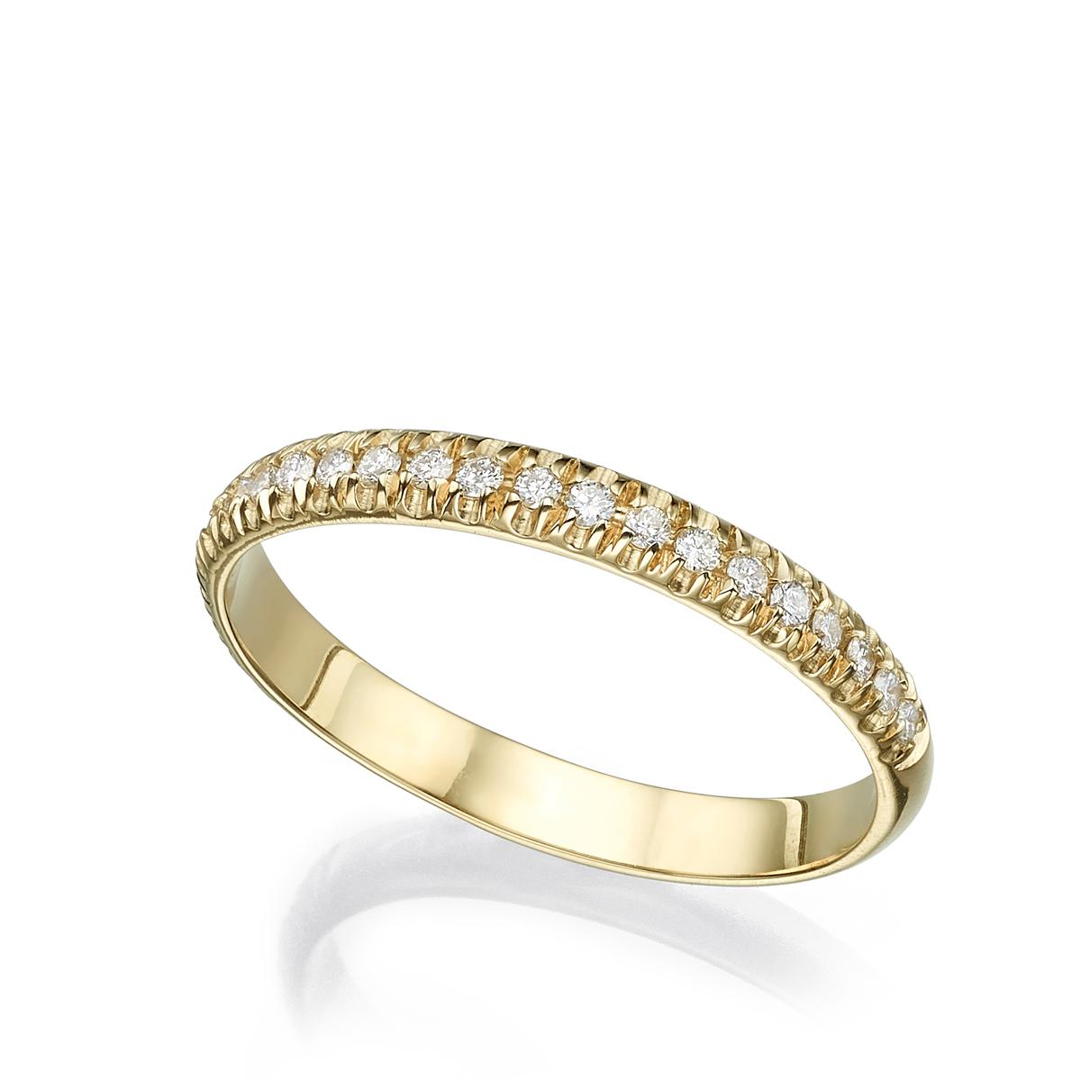 טבעת זהב פרופיל חצי עגול משובצת שורת יהלומים