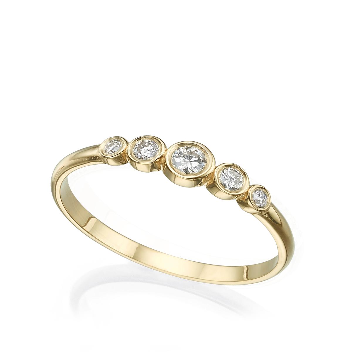 טבעת 5 יהלומים בשיבוץ כוס