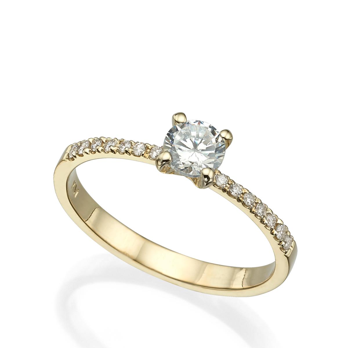טבעת סוליטר משובצת יהלום עגול