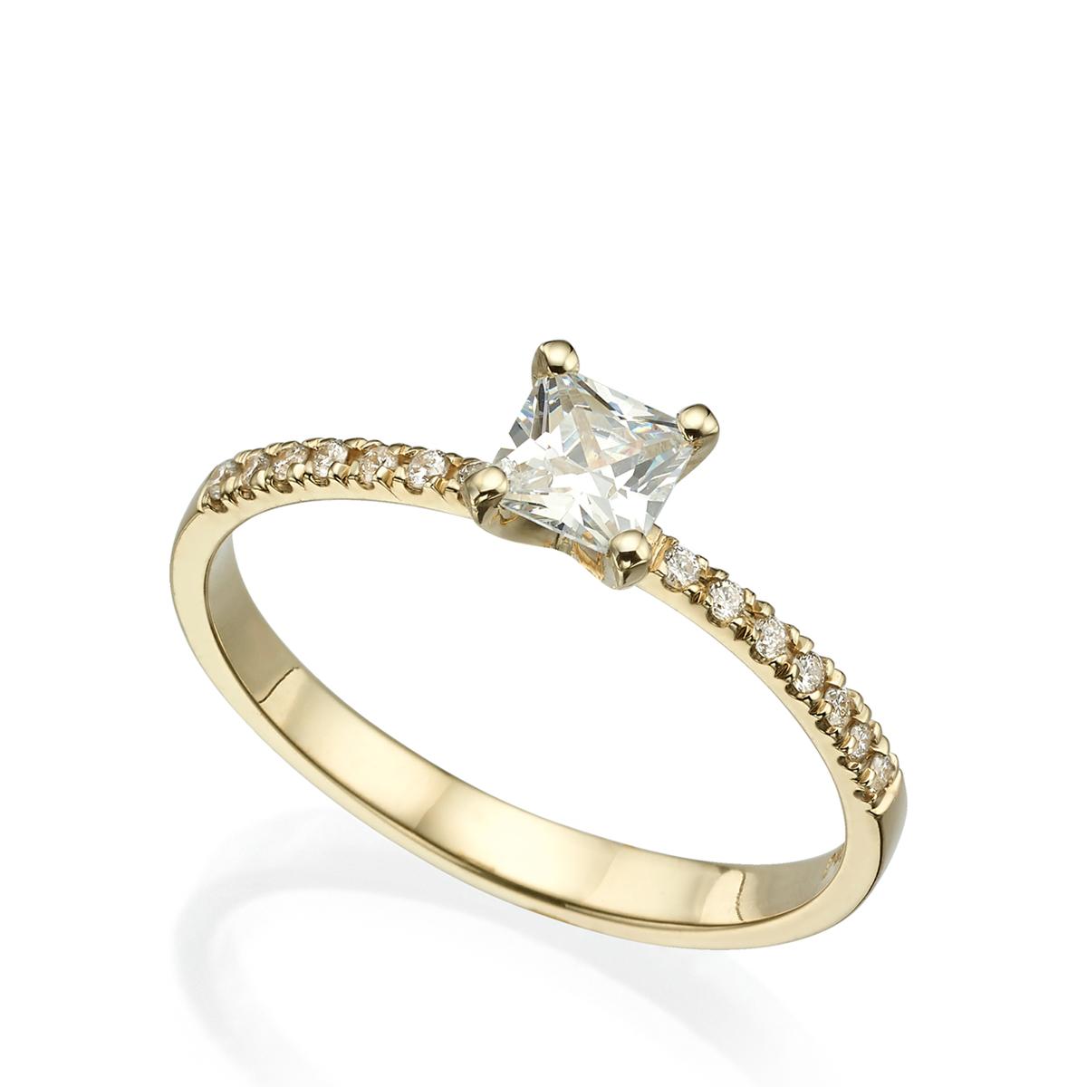 טבעת סוליטר משובצת יהלום פרינסס