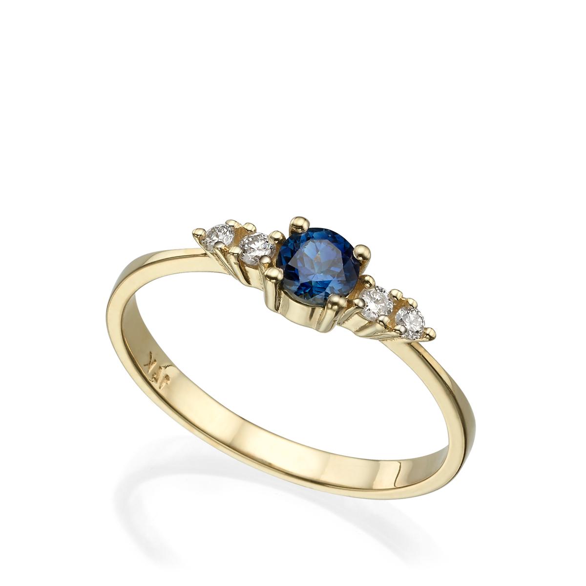 טבעת אירוסין עדינה ומיוחדת משובצת ספיר ויהלומים