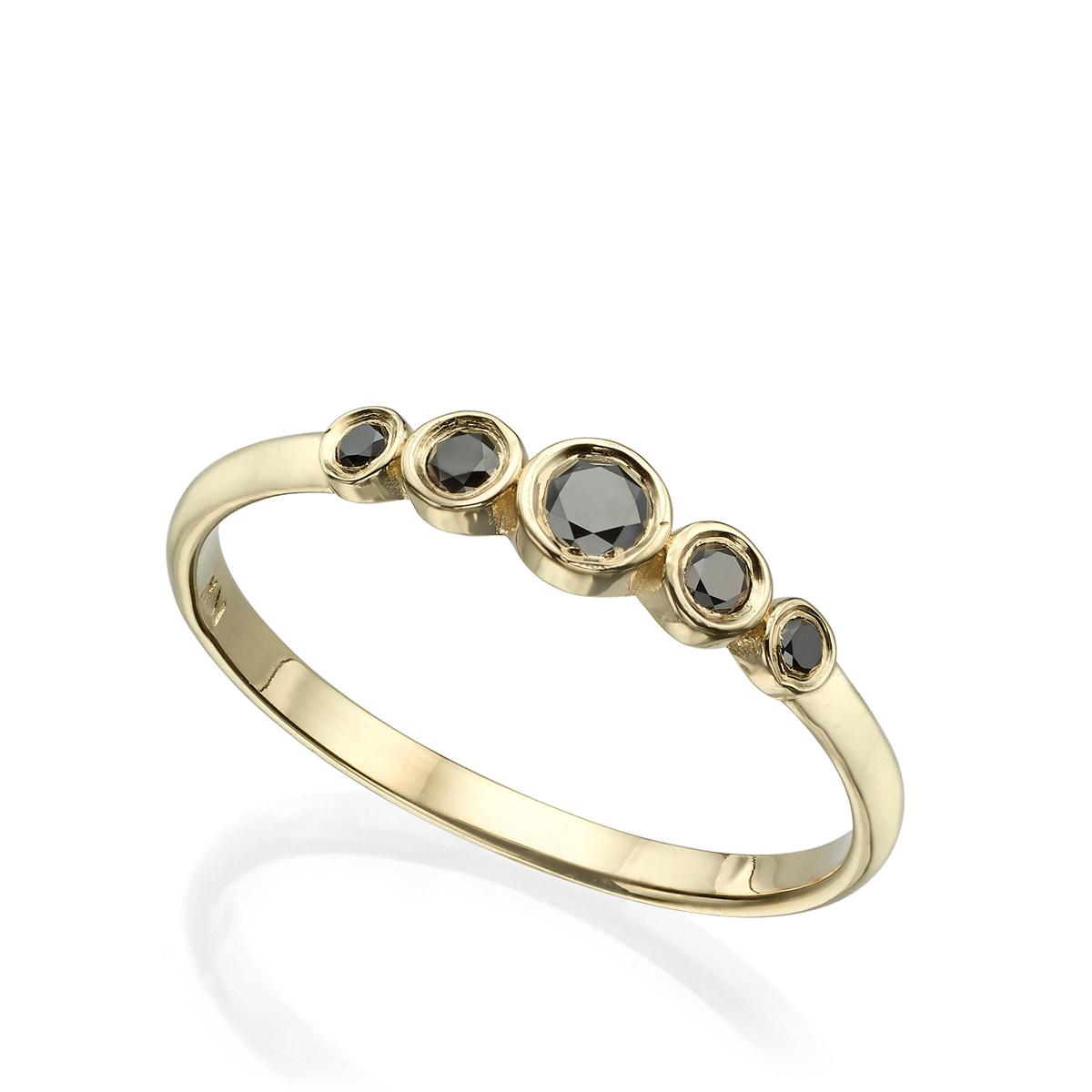 טבעת 5 יהלומים שחורים בשיבוץ כוס