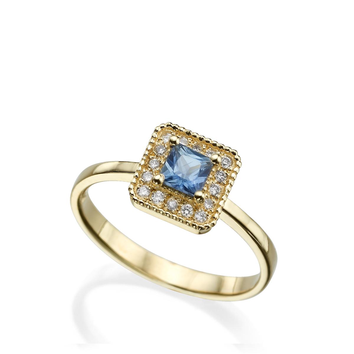 טבעת ספיר פרינסס ומסגרת יהלומים
