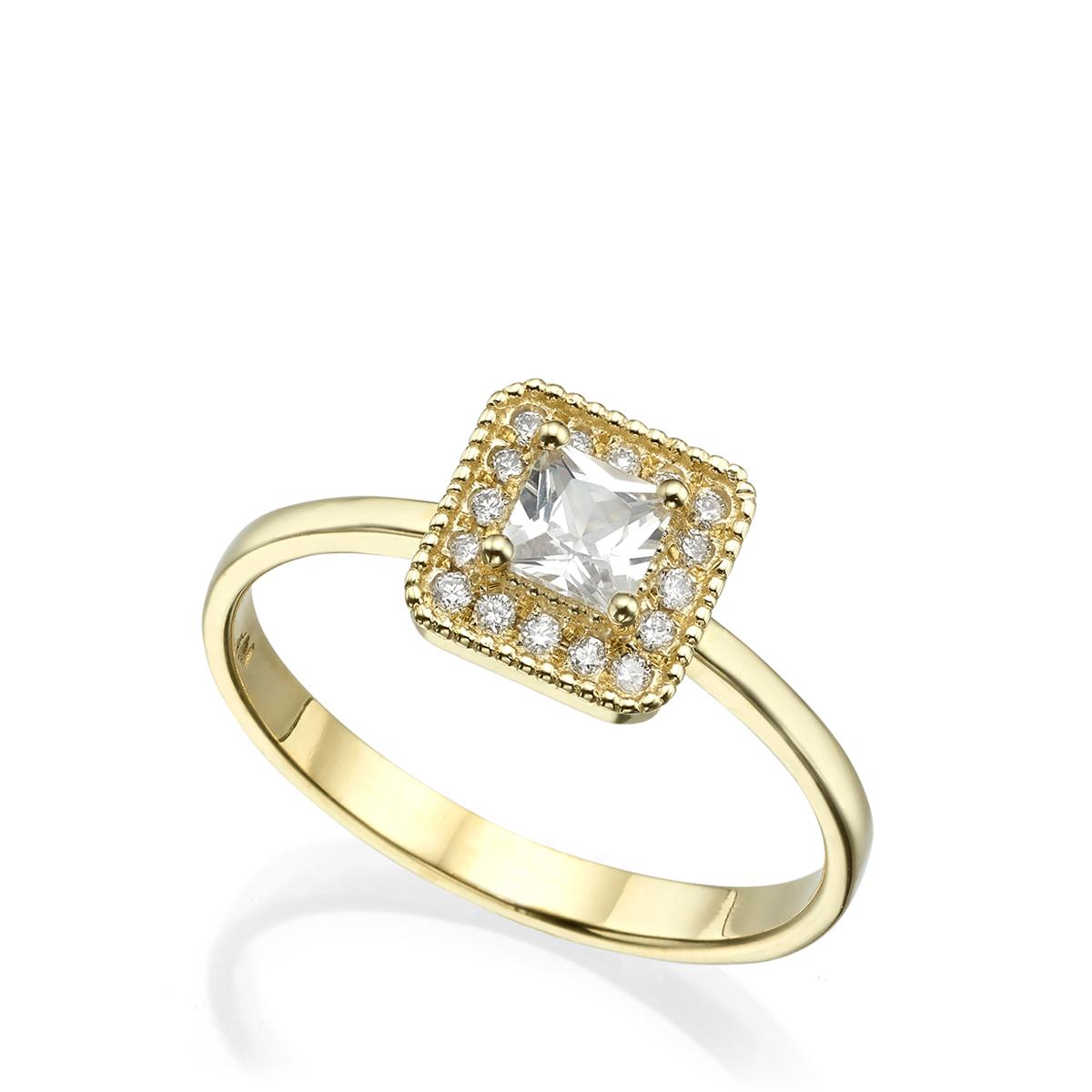טבעת יהלום פרינסס בסגנון עתיק