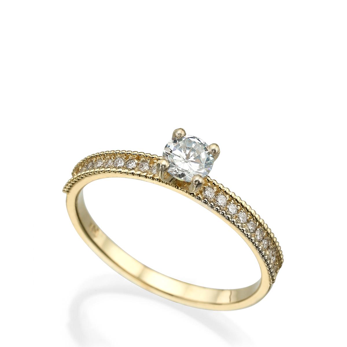 טבעת סוליטר מיוחדת משובצת יהלום עגול