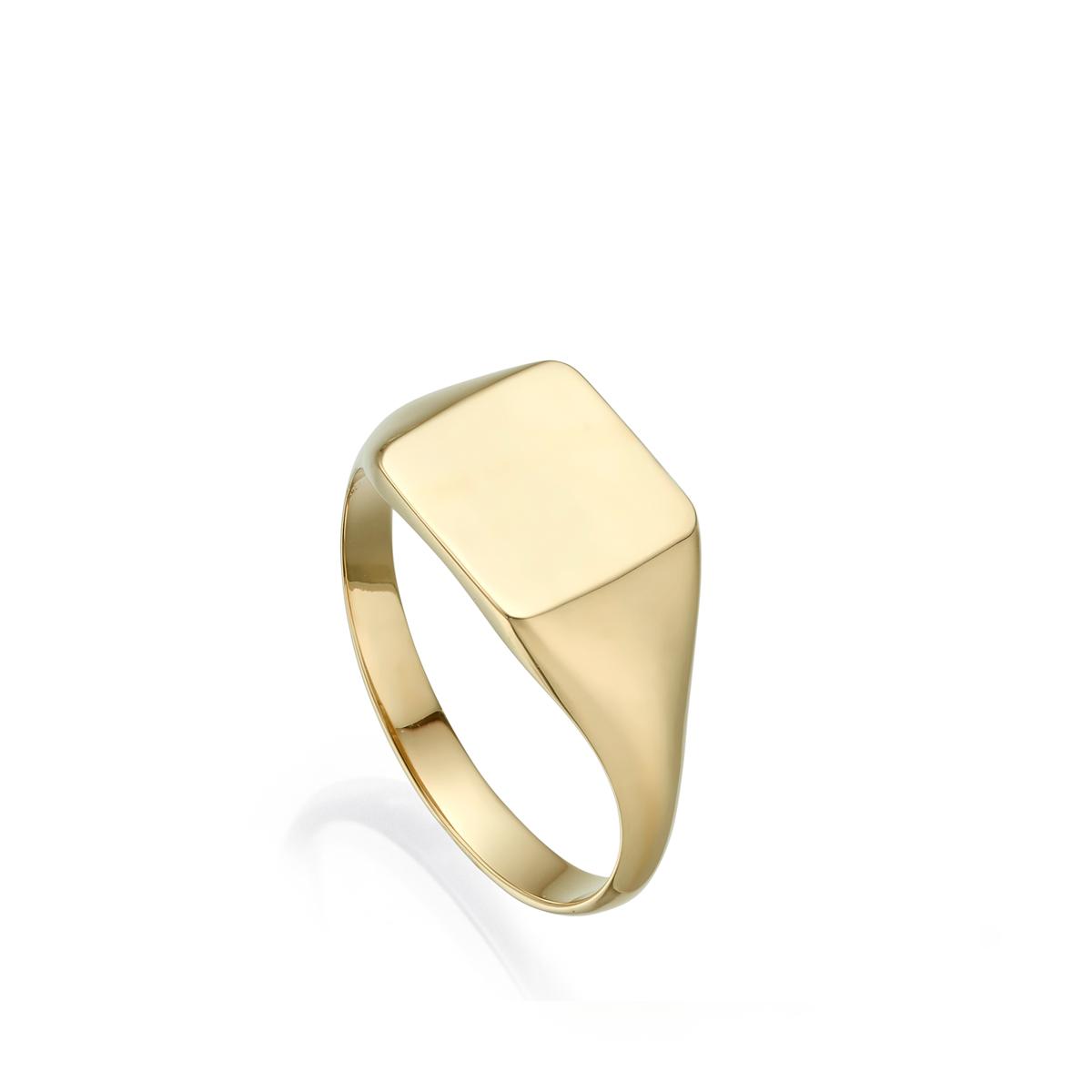 טבעת זהב חותם מרובעת