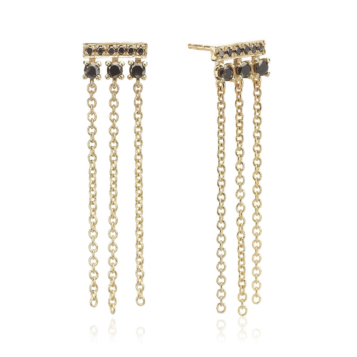 עגילי זהב ויהלומים שחורים מיוחדים בשילוב שרשראות מתנדנדות