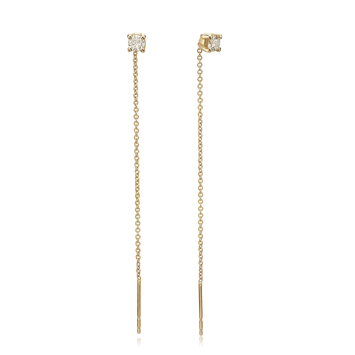עגילי שרשרת זהב משובצים 0.30ct יהלומים