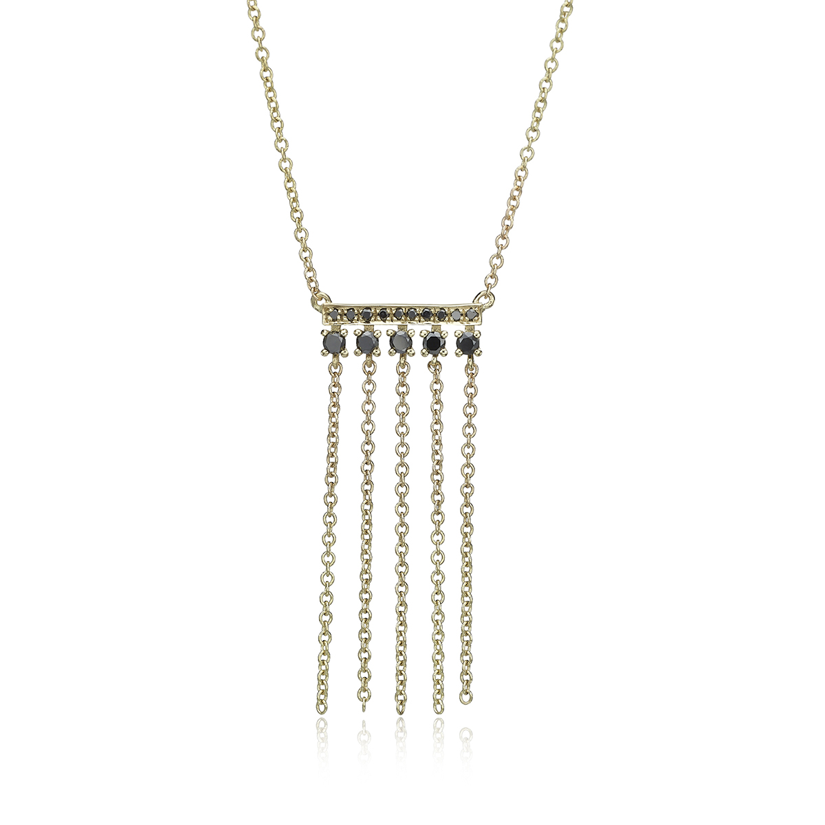 שרשרת זהב ויהלומים שחורים עם שרשראות מתנדנדות