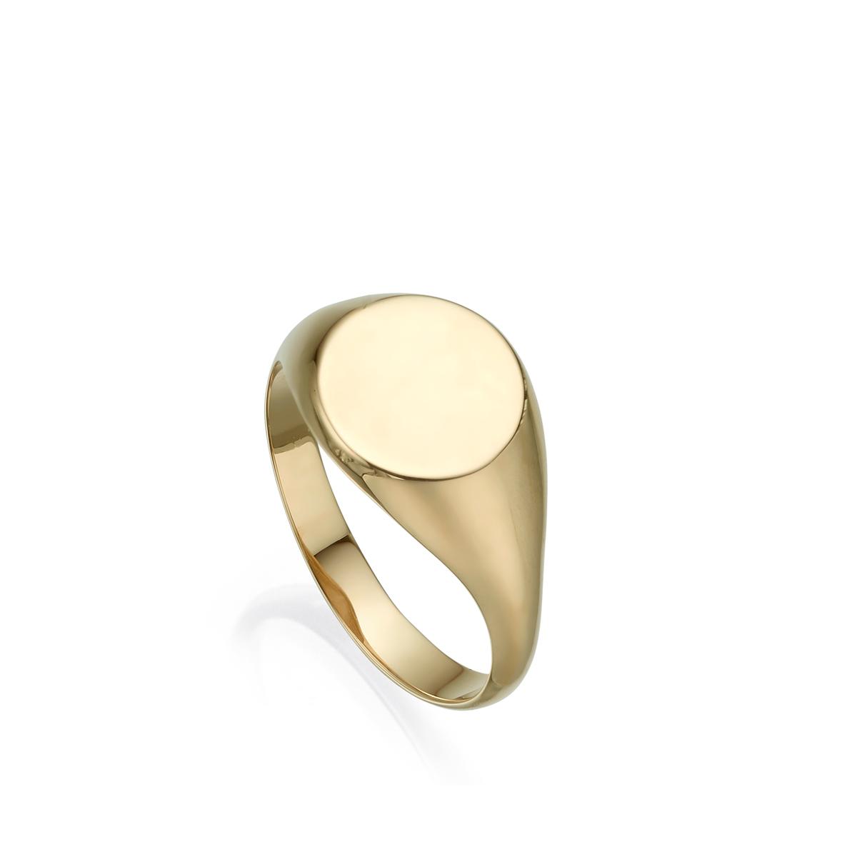 טבעת זהב חותם עגולה