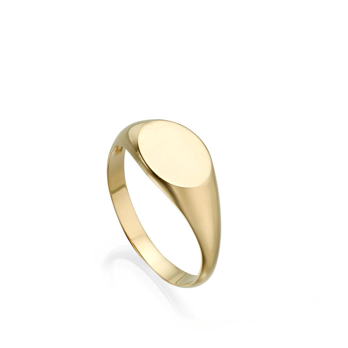 טבעת זהב חותם אליפסה