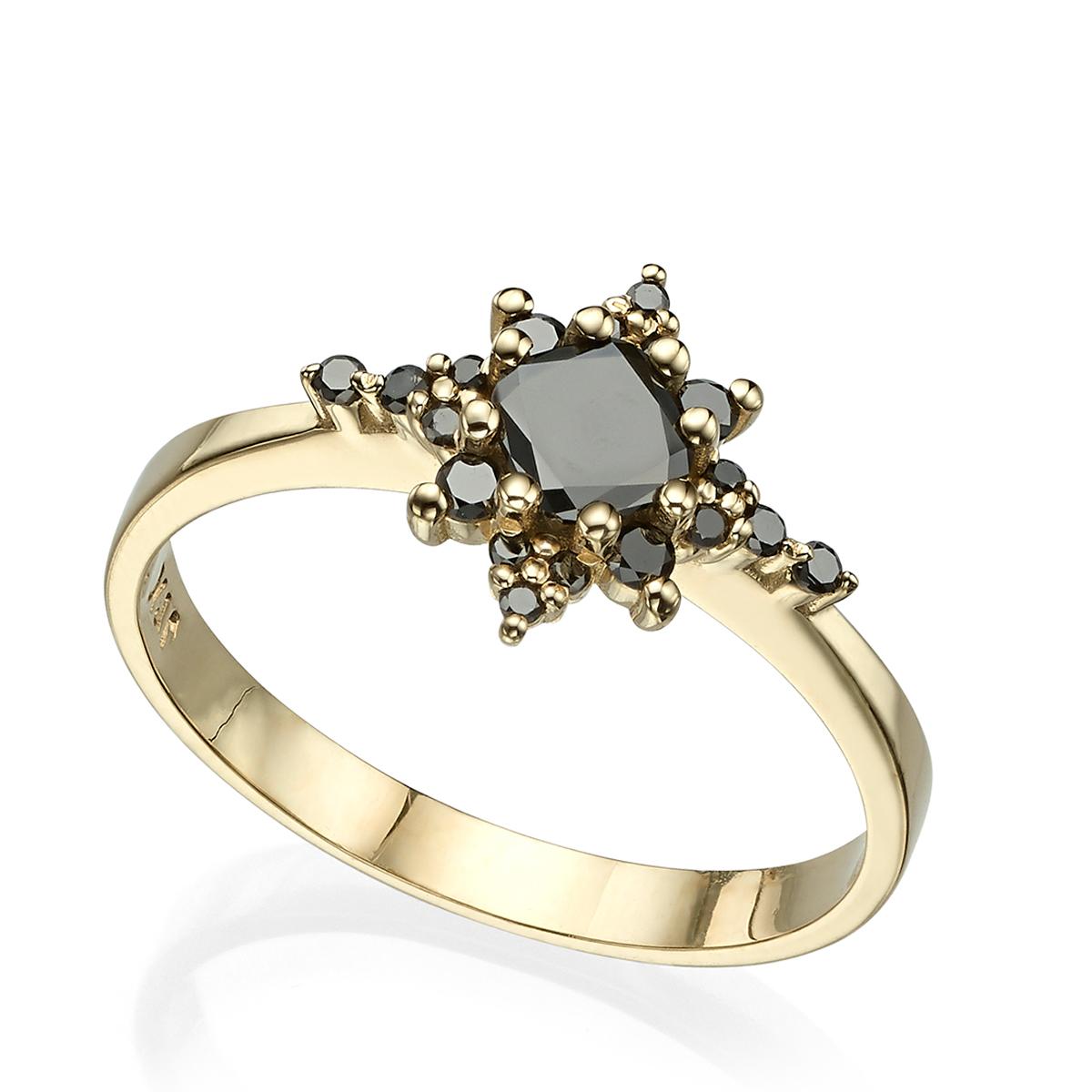 טבעת כוכב יהלומים שחורים, עם יהלום פריננס מרכזי