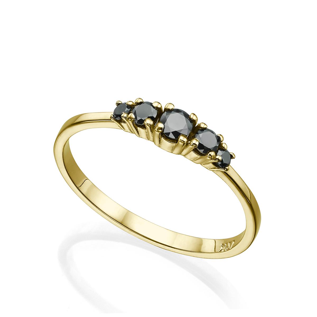 טבעת זהב משובצת 5 יהלומים שחורים, 30 נק', בשיבוץ שיניים