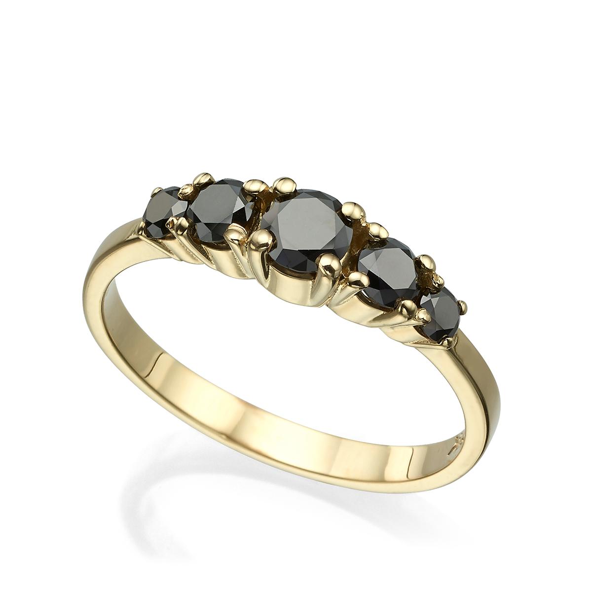 טבעת זהב משובצת 5 יהלומים שחורים, 80 נק', בשיבוץ שיניים