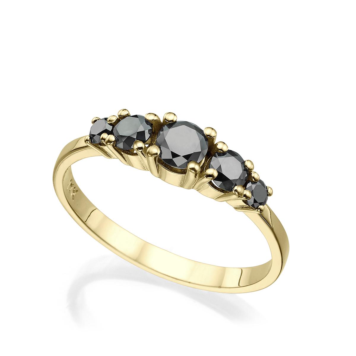 טבעת זהב משובצת 5 יהלומים שחורים, 60 נק', בשיבוץ שיניים