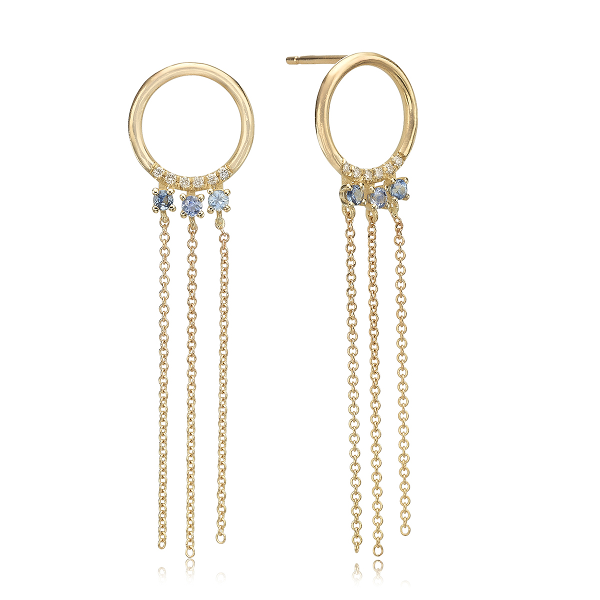 עגילי זהב בצורת עיגול עם שרשראות תלויות משובצים יהלומים וספירים כחולים