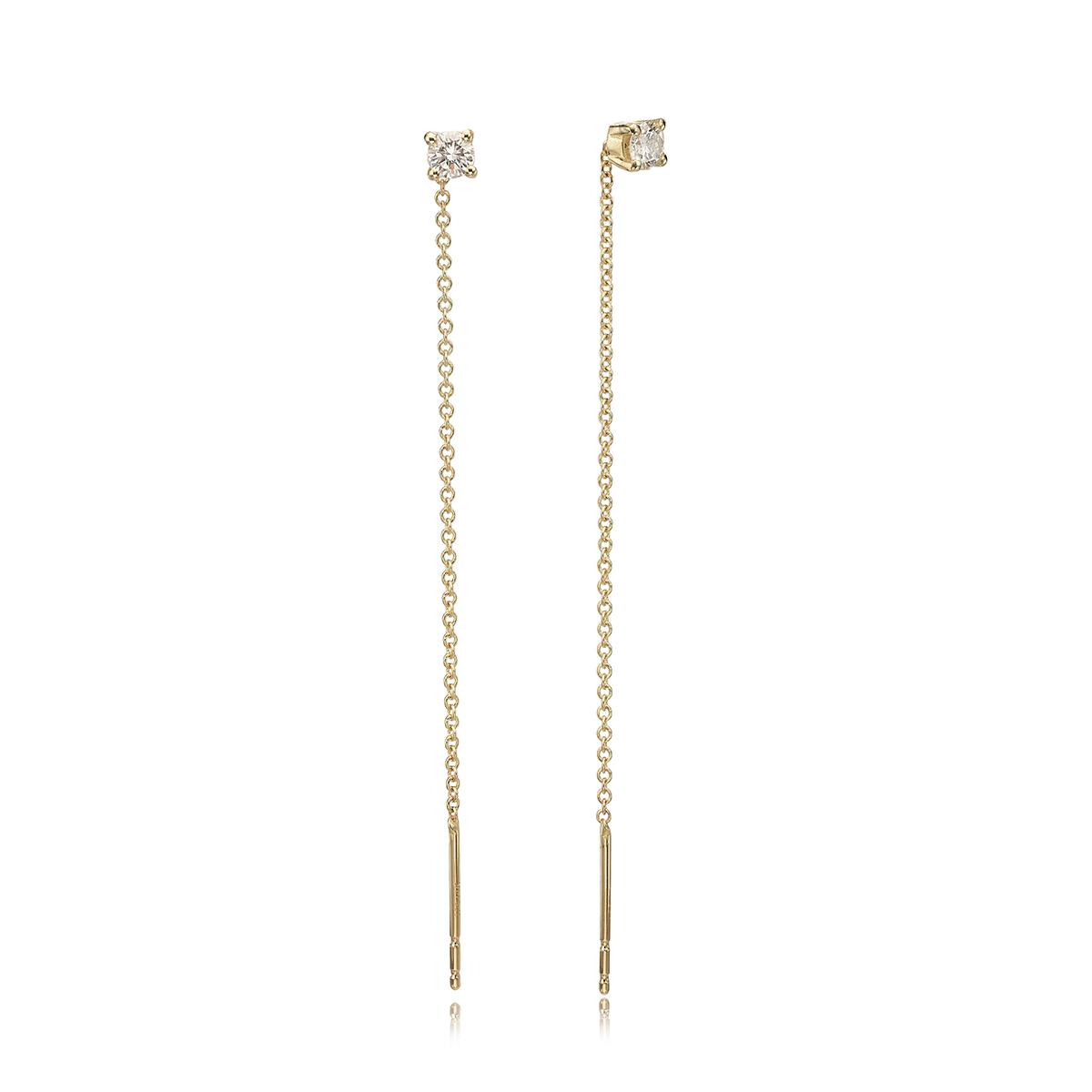 עגילי שרשרת זהב משובצים 0.20ct יהלומים