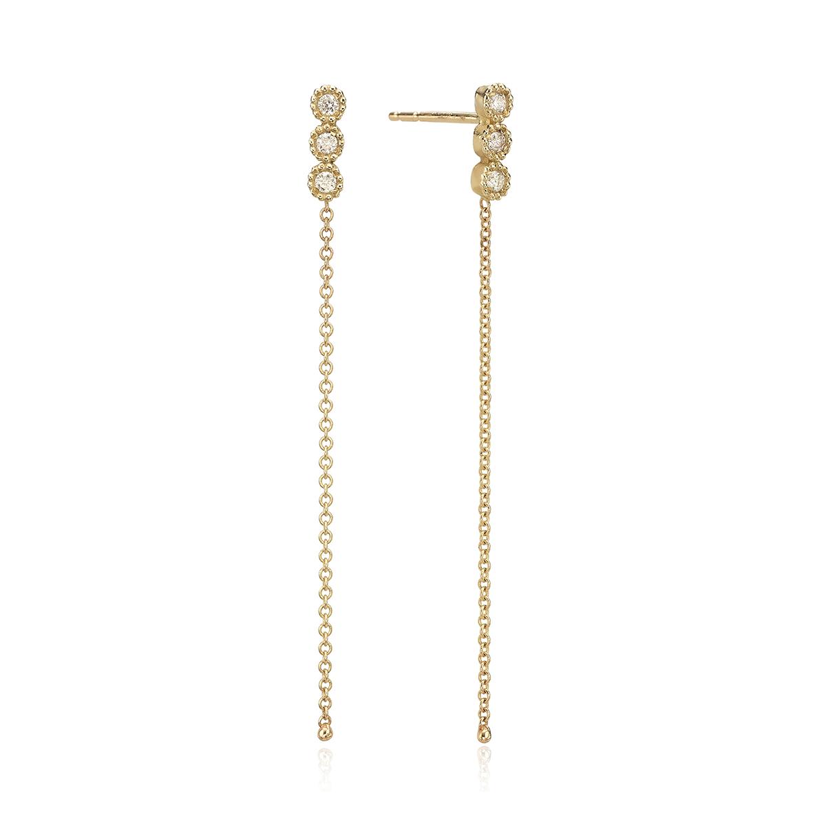 עגילי יהלומים לבנים צמודים עם שרשרת זהב