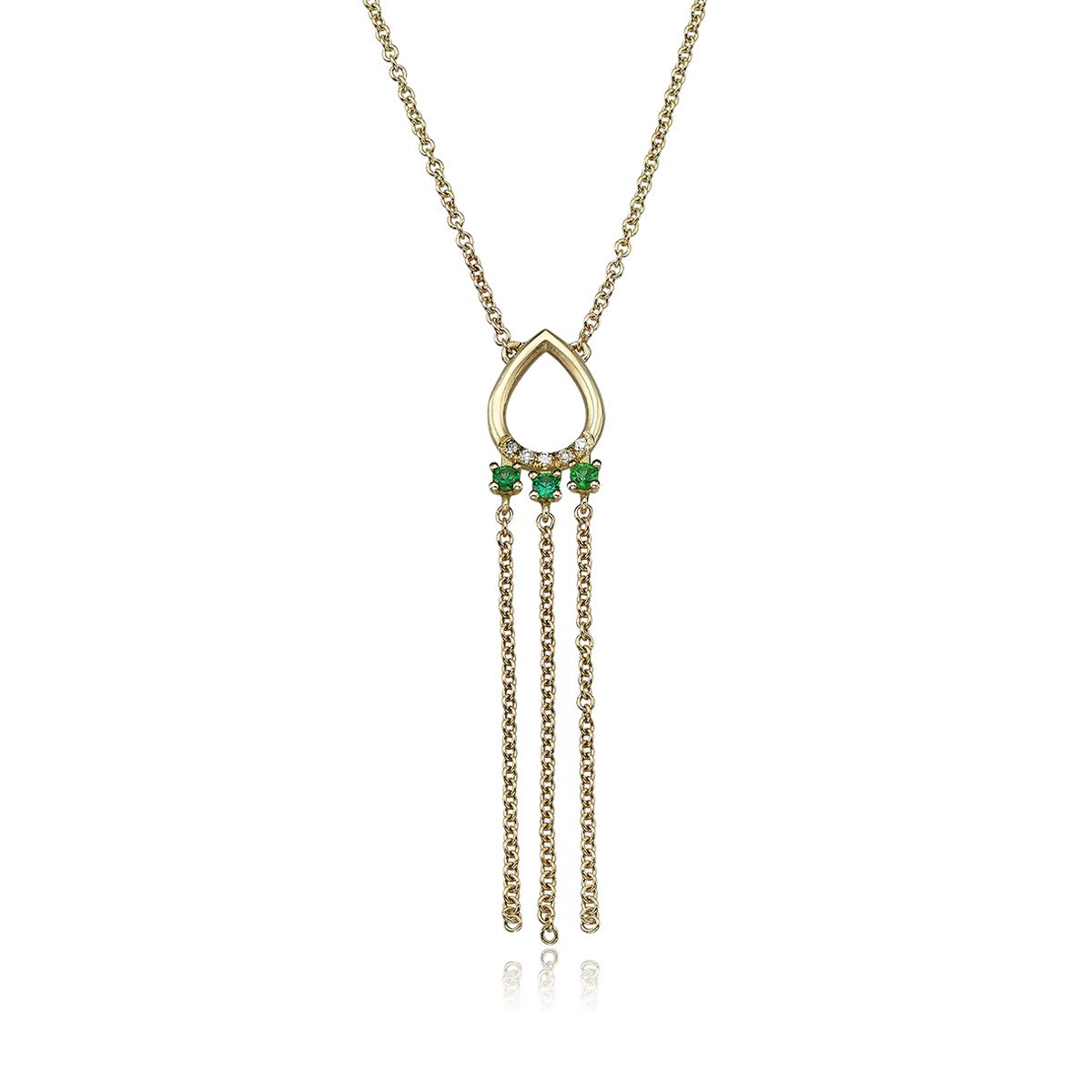 שרשרת זהב בצורת טיפה משובצת יהלומים ואמרלדים בשילוב שרשראות מתנדנדות