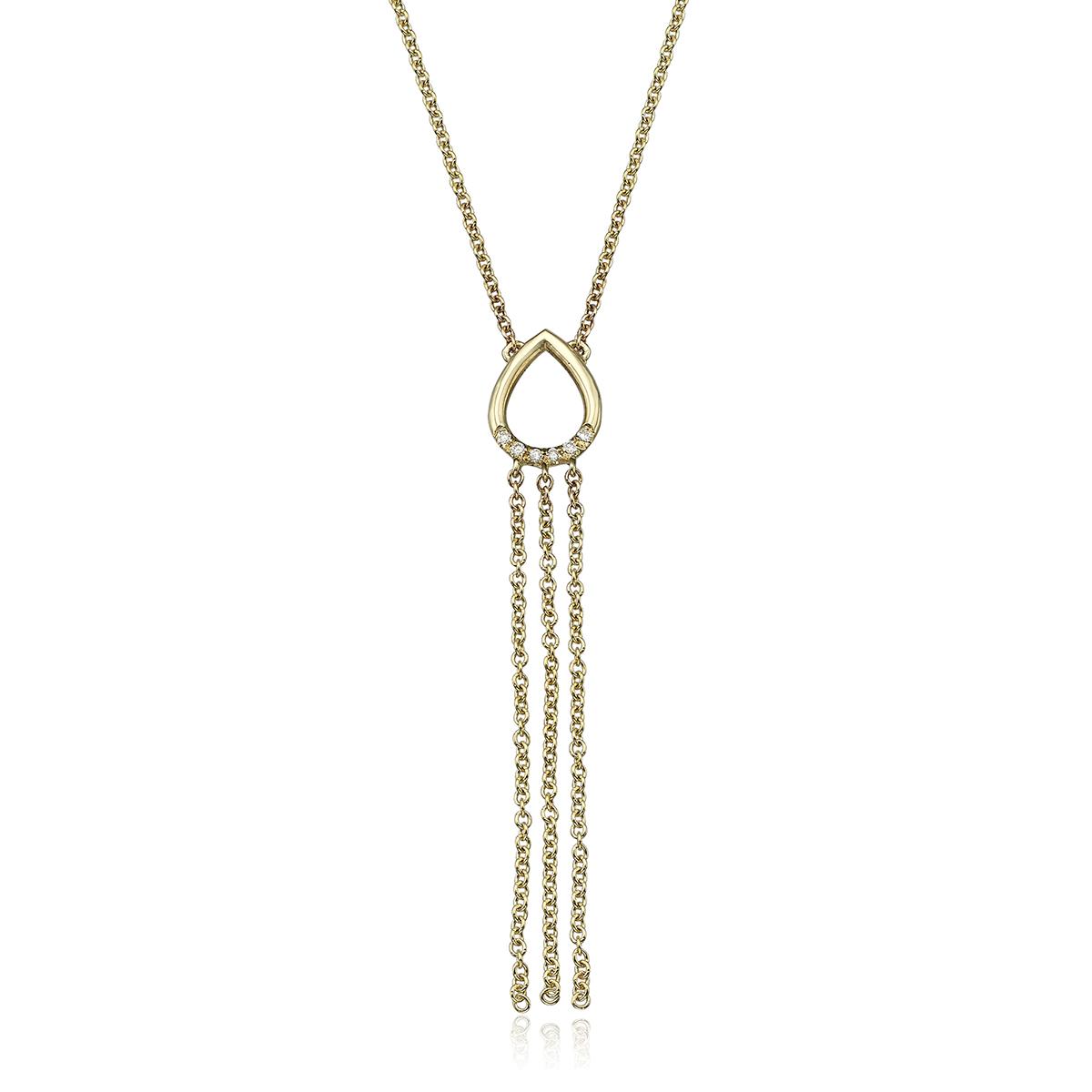 שרשרת זהב בצורת טיפה משובצת יהלומים ושרשראות מתנדנדות