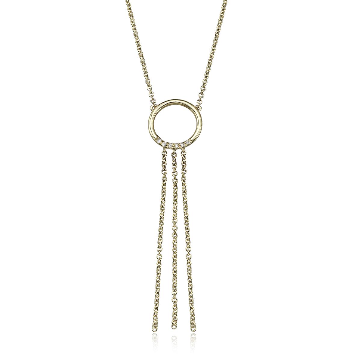 שרשרת זהב בצורת עיגול משובצת יהלומים ושרשראות מתנדנדות