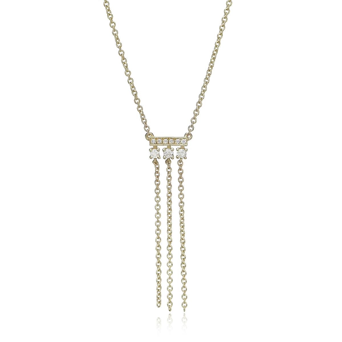 שרשרת זהב ויהלומים עם שרשראות מתנדנדות