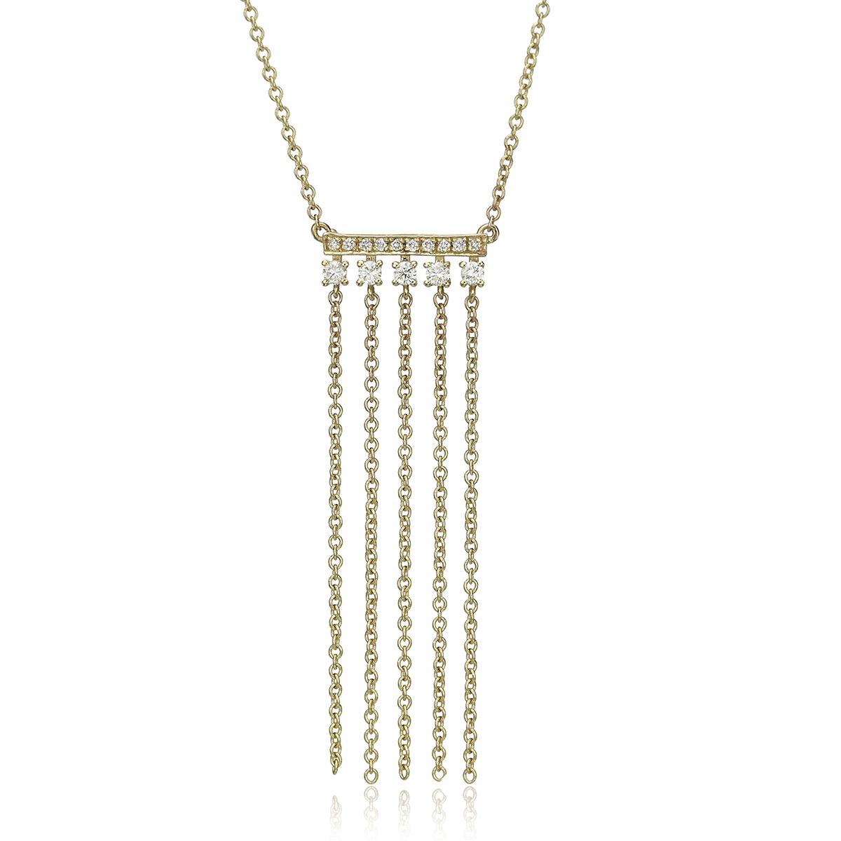 שרשרת בר זהב משובץ יהלומים עם שרשראות מתנדנדות
