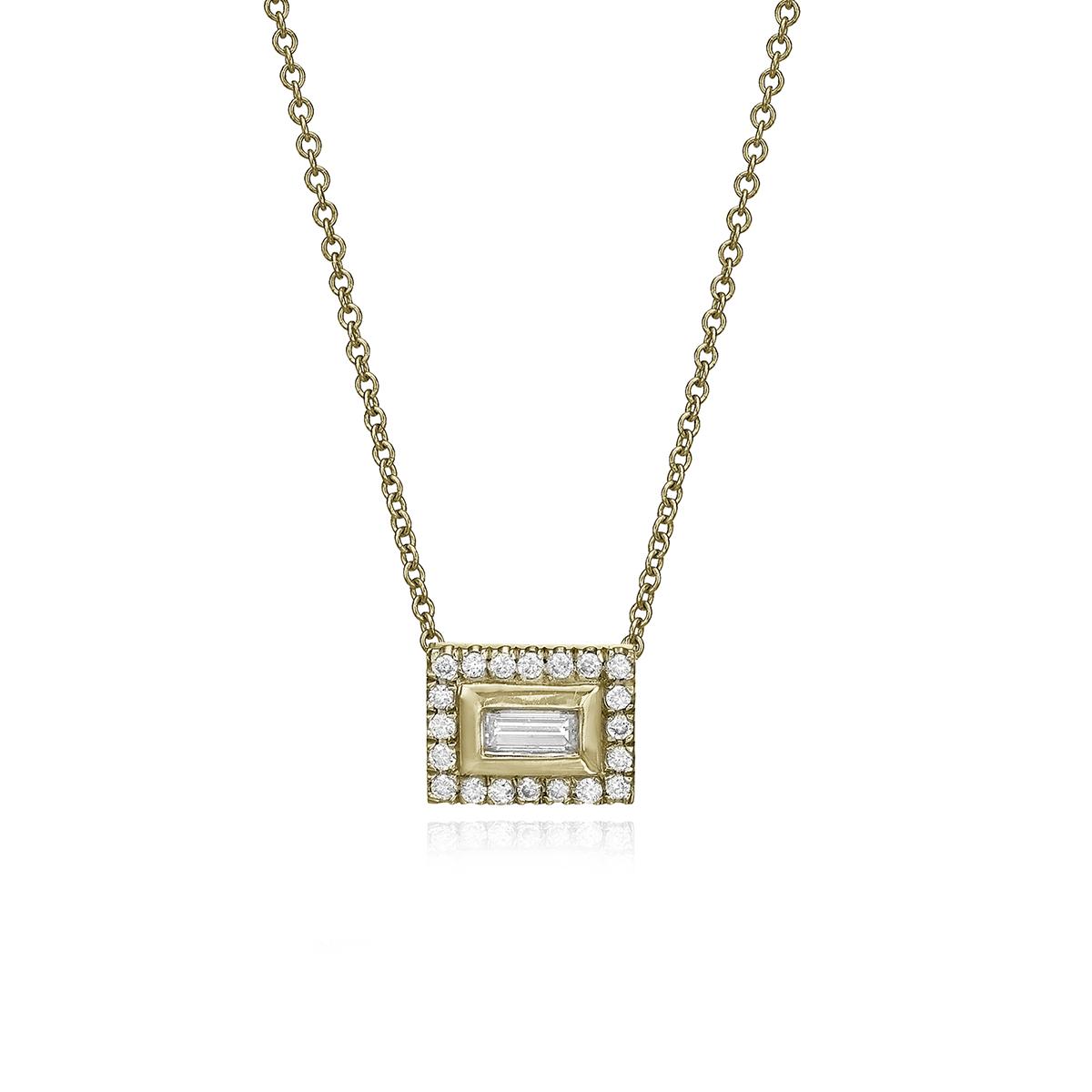 שרשרת זהב משבצת יהלום בחיתוך בגט