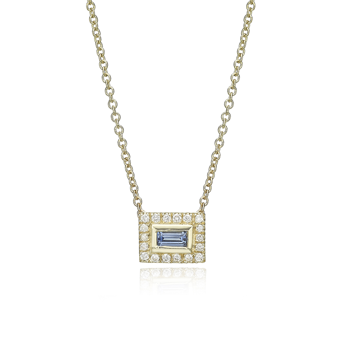 שרשרת זהב משבצת יהלומים וספיר בחיתוך בגט
