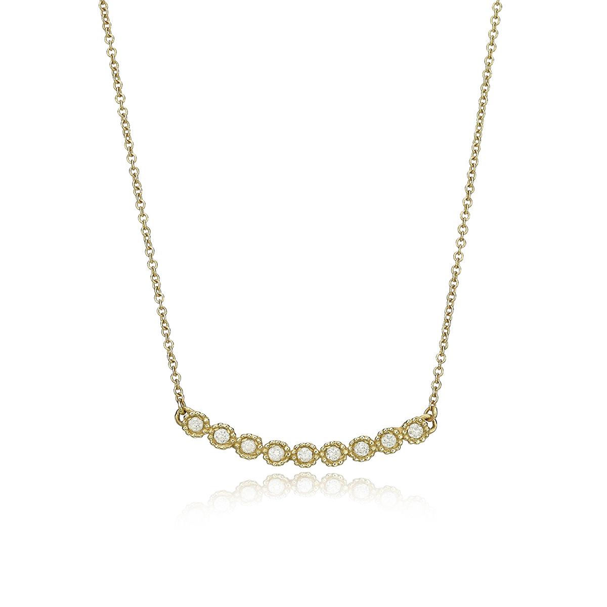 שרשרת זהב ושורת יהלומים אופקית