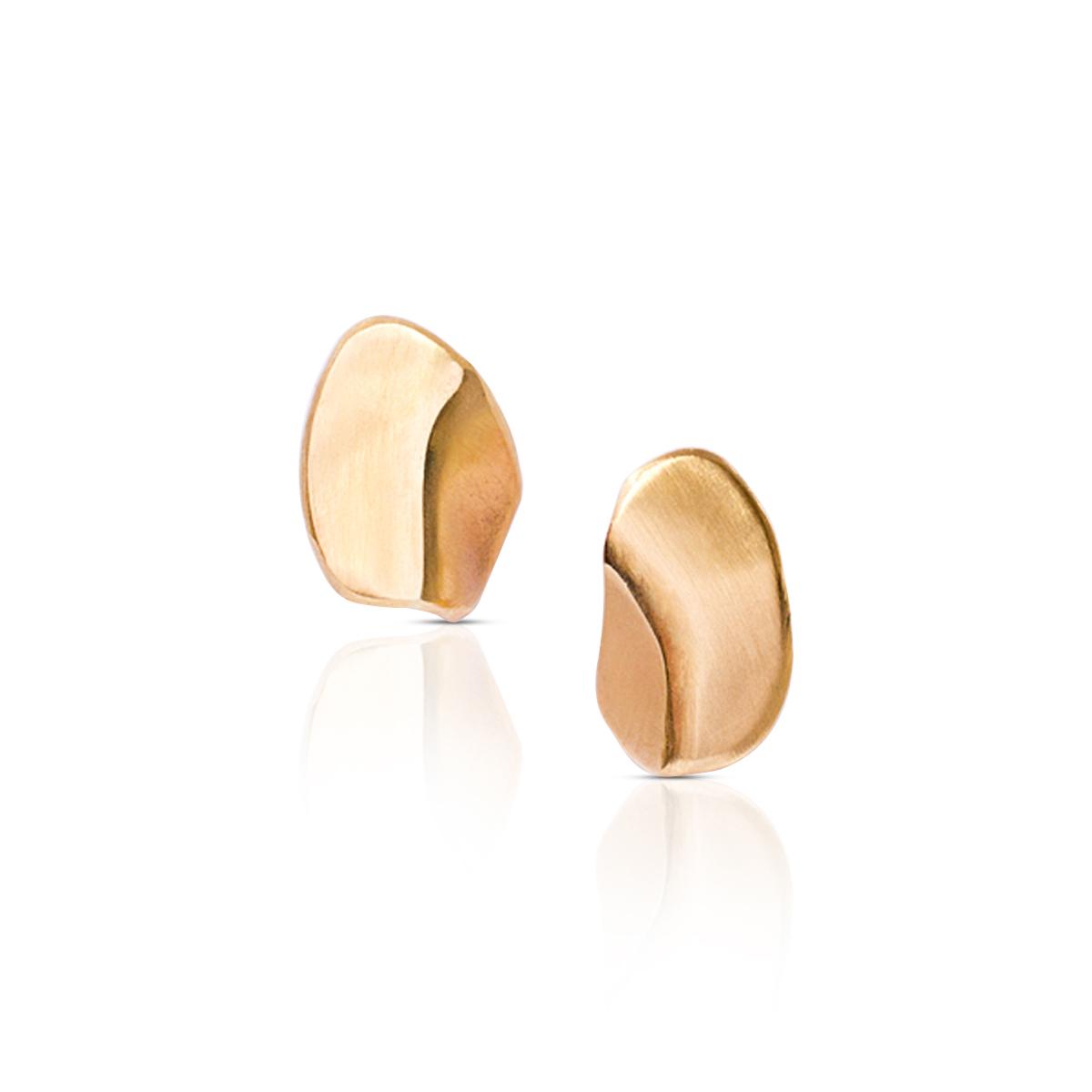 עגילי זהב אמורפיים צמודים
