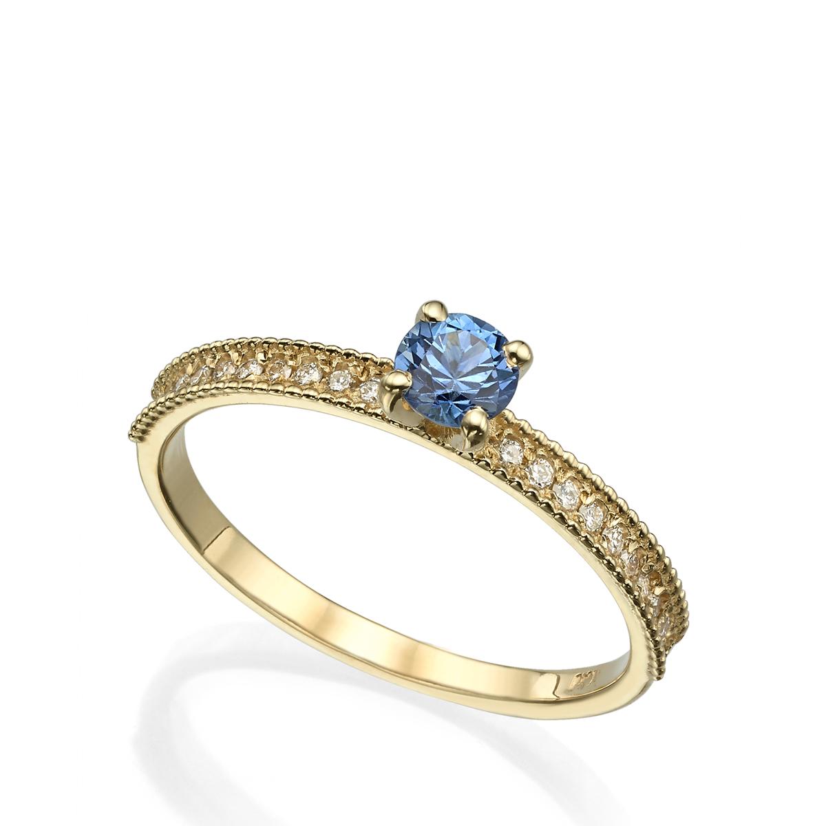 טבעת סוליטר מיוחדת משובצת ספיר