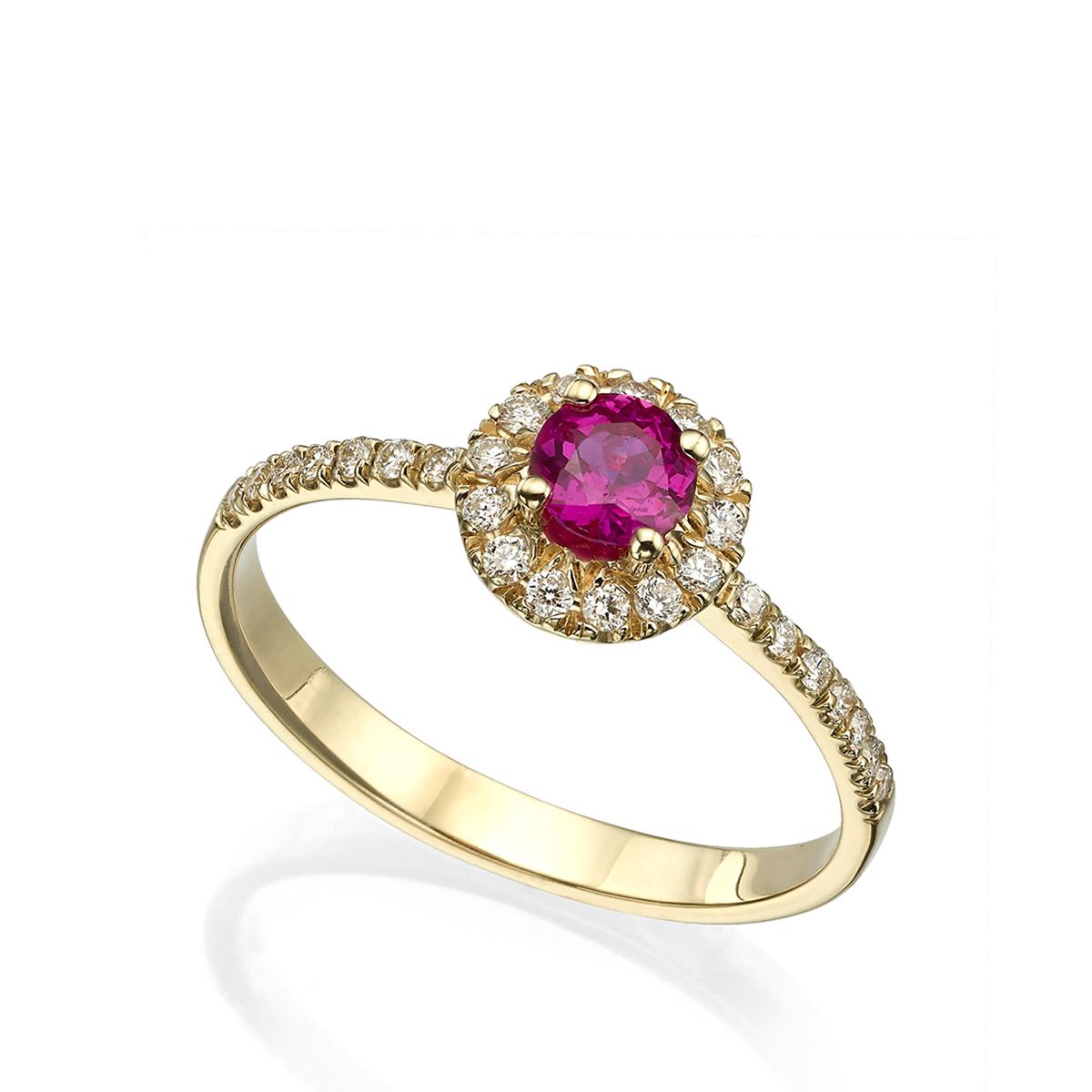 טבעת אירוסין משובצת רובי ויהלומים