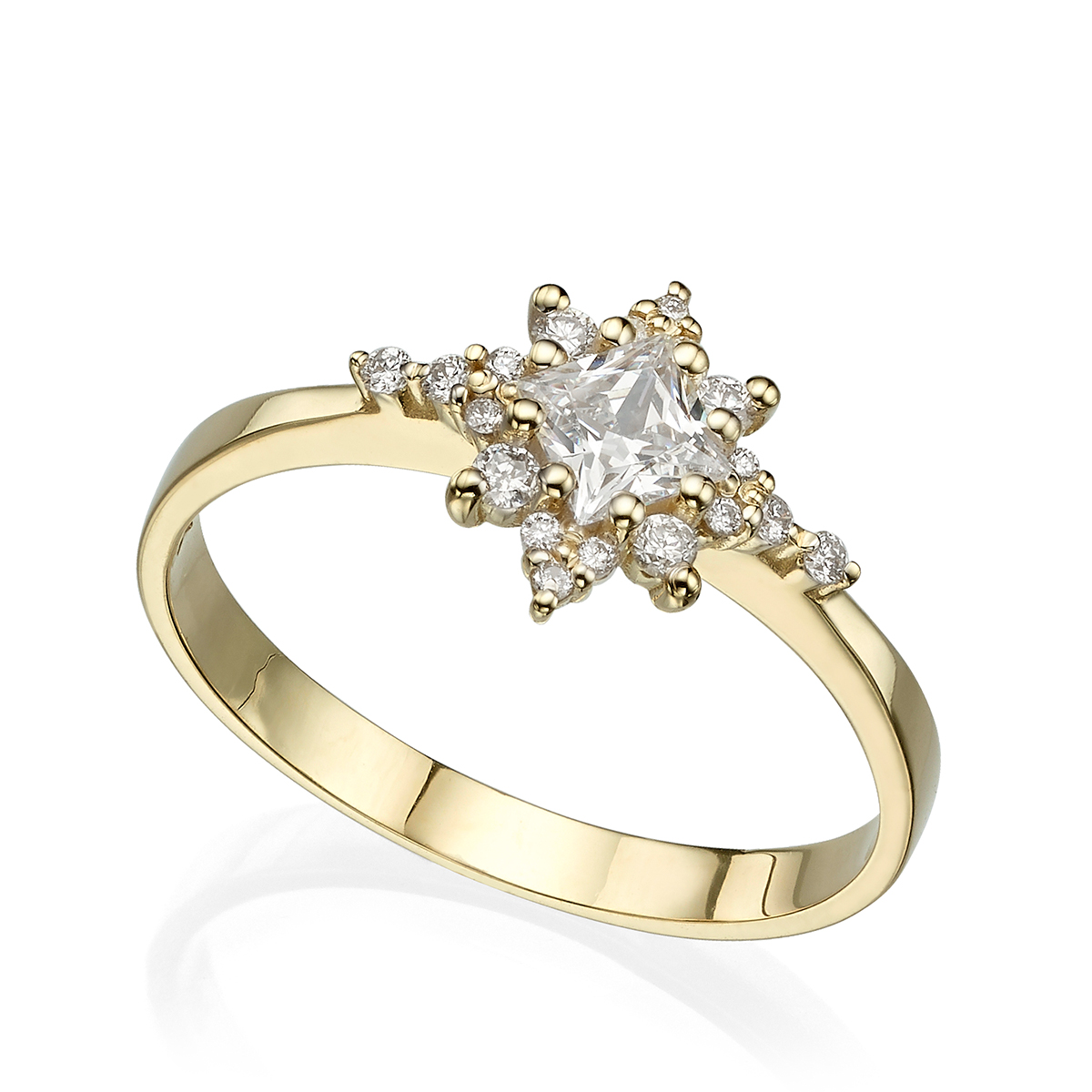 טבעת כוכב יהלומים עם יהלום פריננס מרכזי
