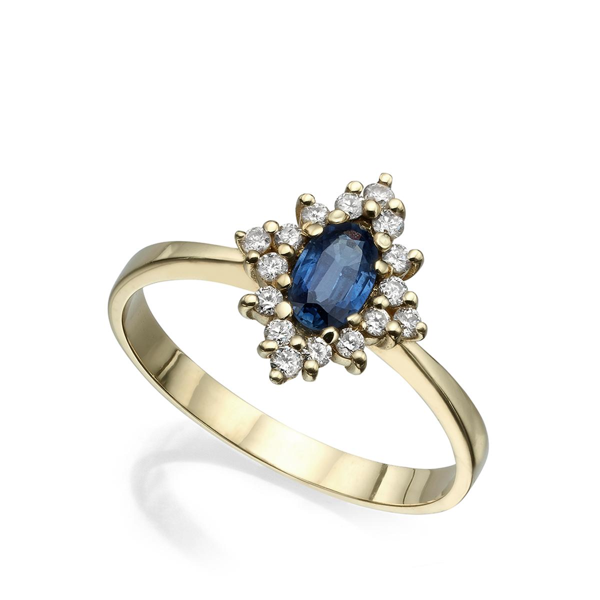 טבעת זהב בסגנון וינטאג', ספיר כחול ויהלומים