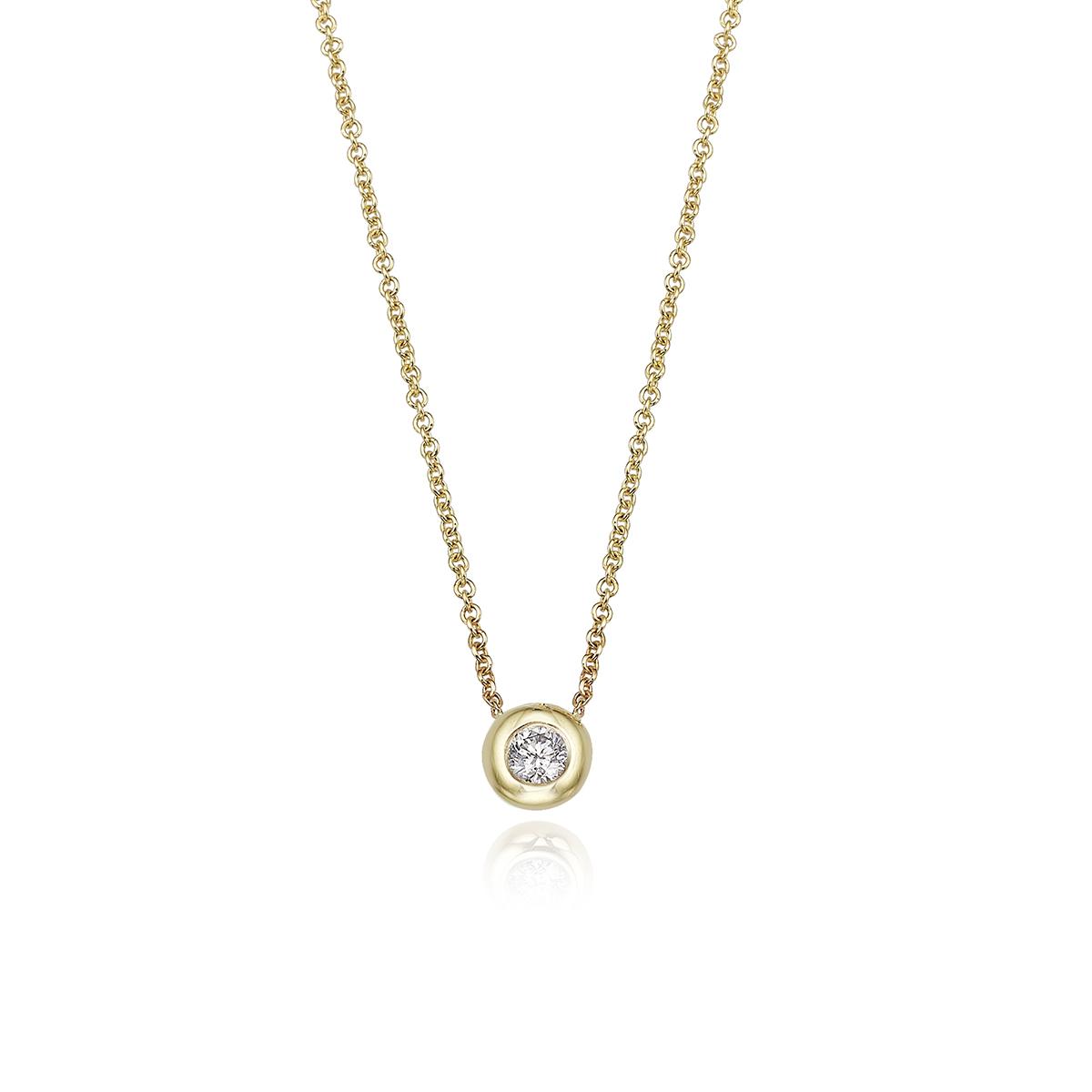 שרשרת זהב משובצת יהלום 0.15 נקודות