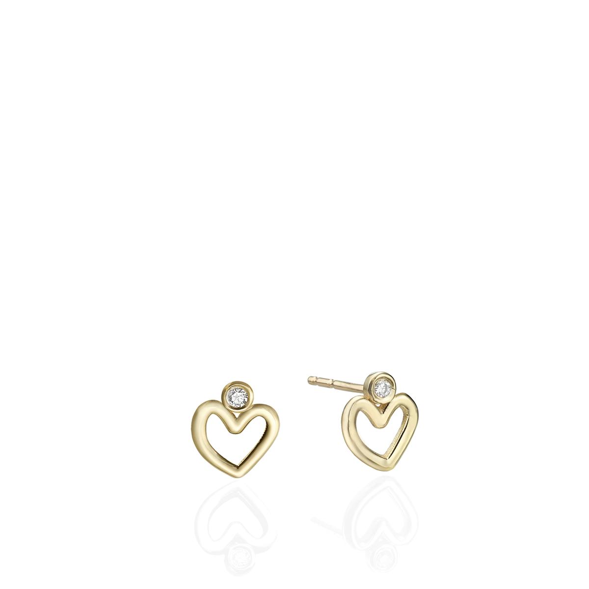 עגילי יהלומים ולבבות קטנים צמודים מזהב (מבצע)