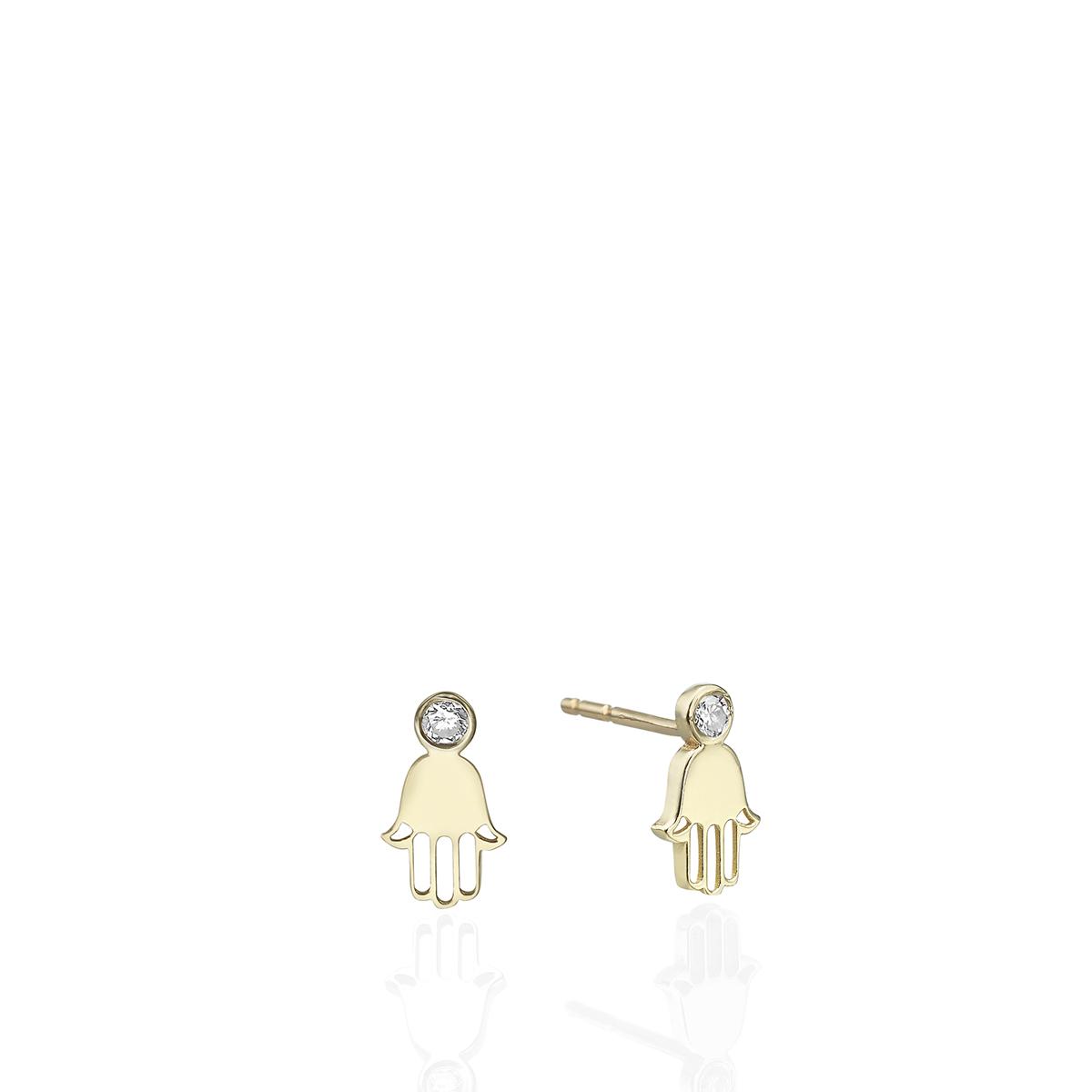 עגילי חמסה צמודים עם יהלומים בעיצוב מדהים