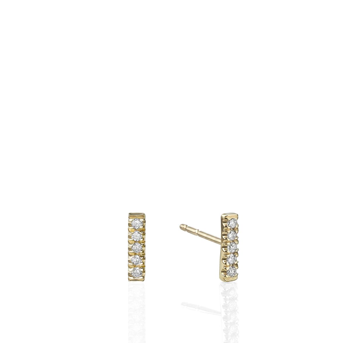 עגילי פס יהלומים קטנים צמודים
