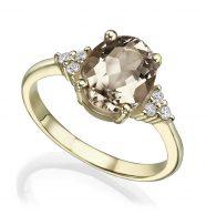 טבעת זהב משובצת סמוקי קווארץ