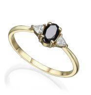 טבעת אירוסין משובצת יהלום שחור אובל מרכזי